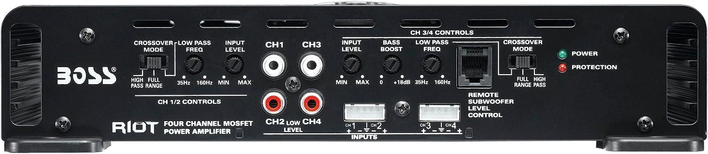 Boss Audio Systems R4004 Amplificador de audio 4.0, 1600W, A//B, Terminales de abrazadera, 5,7 cm, 39,1 cm Negro