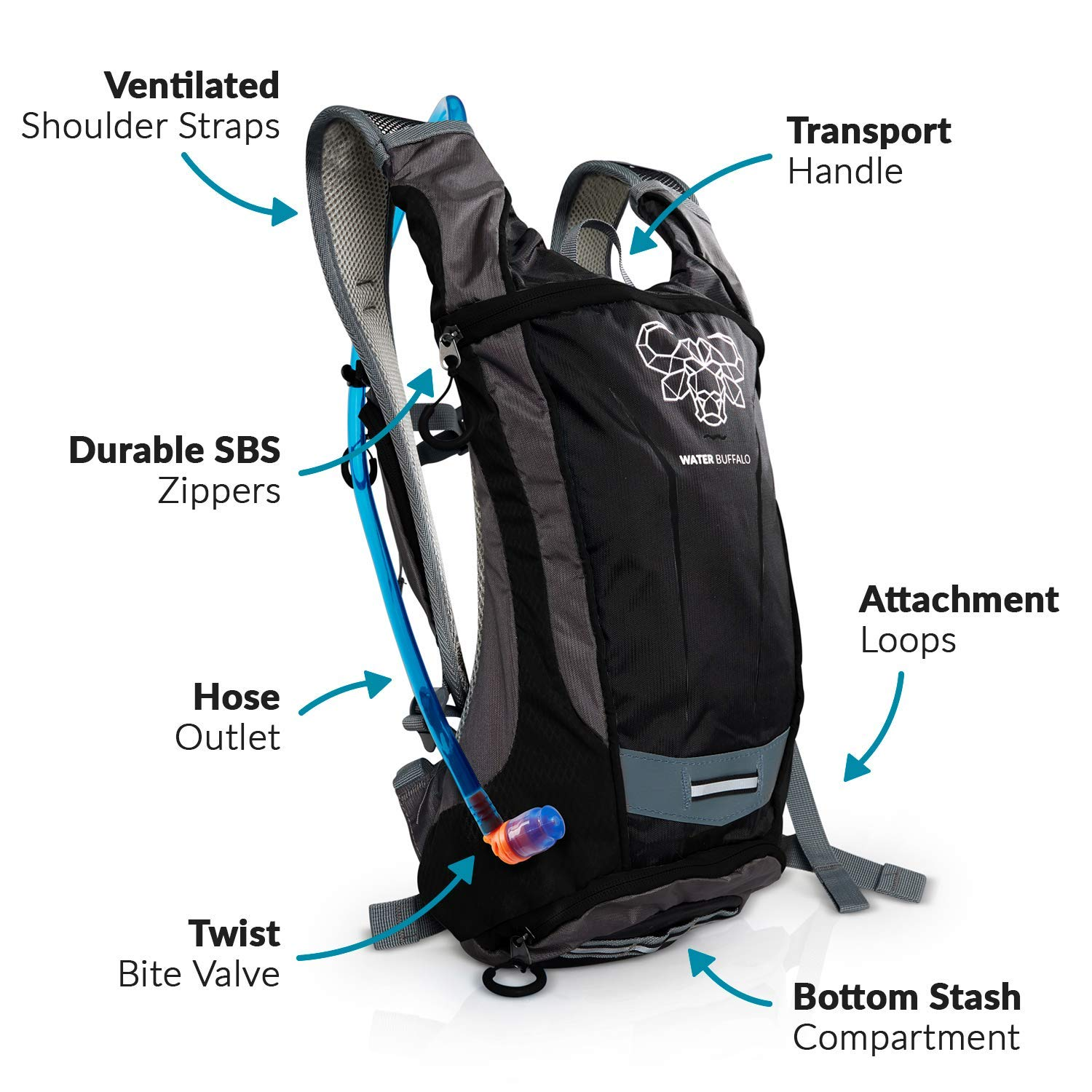Amazon.com : Water Buffalo Hydration Backpack | Hydration Pack & 2 Liter BPA Free Bladder | Multiple Pockets For All Your Essentials : Sports & Outdoors