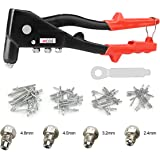 Pop Rivet Gun Kit with 60 Metal Rivets and Wrench, Contractor Grade Riveter, Hand Repair Tools Riveter, Pop Rivet Tool, Heavy Duty Hand Riveter Set for Sheet Metal, Automotive and Duct Work