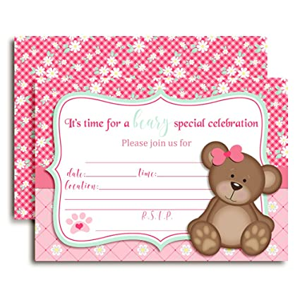 Teddy Bear Girl Birthday Party Invitations For Girls 20 5x7 Fill In Cards With Twenty White Envelopes By AmandaCreation