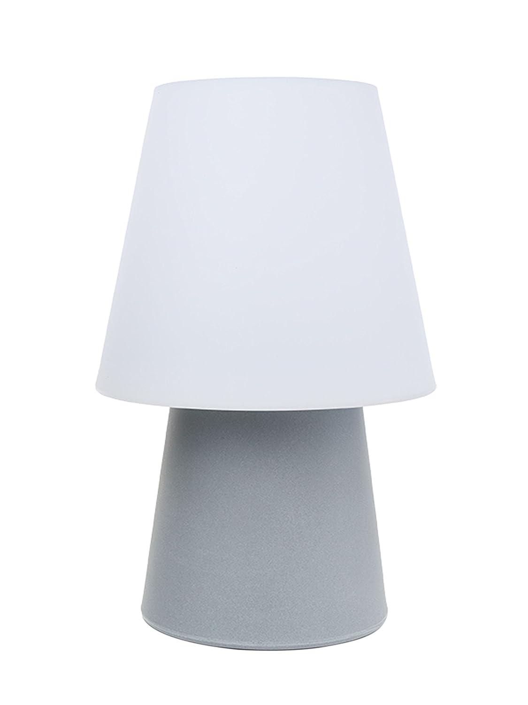 8 seasons design - Klassisch moderne Dekoleuchte No. 1 Grey (60cm, LED, Farbwechsel, Fernbedienung, dimmbar, IP44, Lampenschirm weiß, für Haus & Garten) grau Lampenschirm weiß 32528L