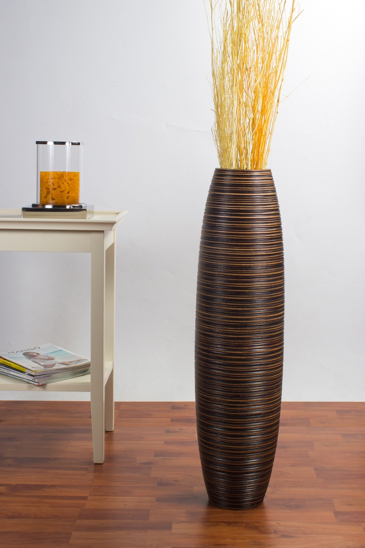 Tall Floor Vase 30 inches, Wood, Brown