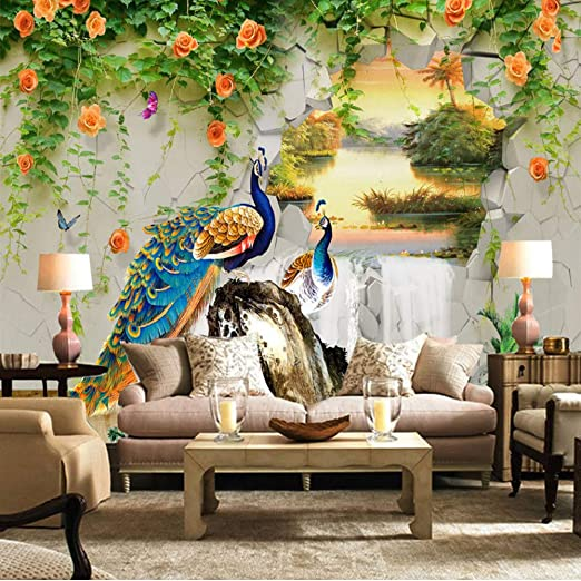 Amazon Com Xbwy Custom Photo Wallpaper 3d Stereo Peacock Pastoral Wall Painting Living Room Tv Sofa Classic Background Wall Mural 3d 200x140cm Kitchen Dining
