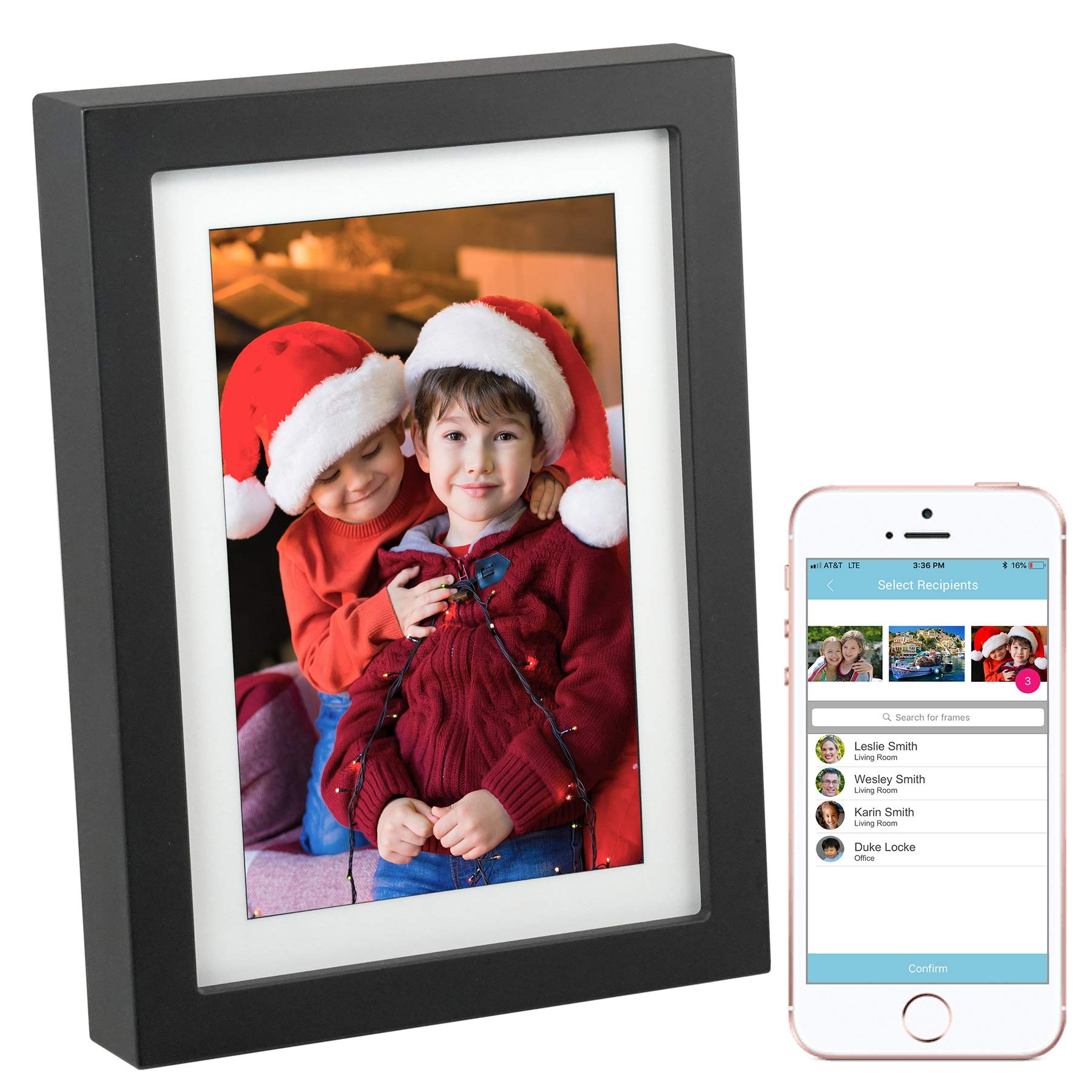 PhotoSpring 8 (16GB) 8-inch WiFi Cloud Digital Picture Frame - Battery, Touch-Screen, Plays Video and Photo Slideshows, HD IPS Display, iPhone & Android app (Black - 15,000 Photos) by PhotoSpring