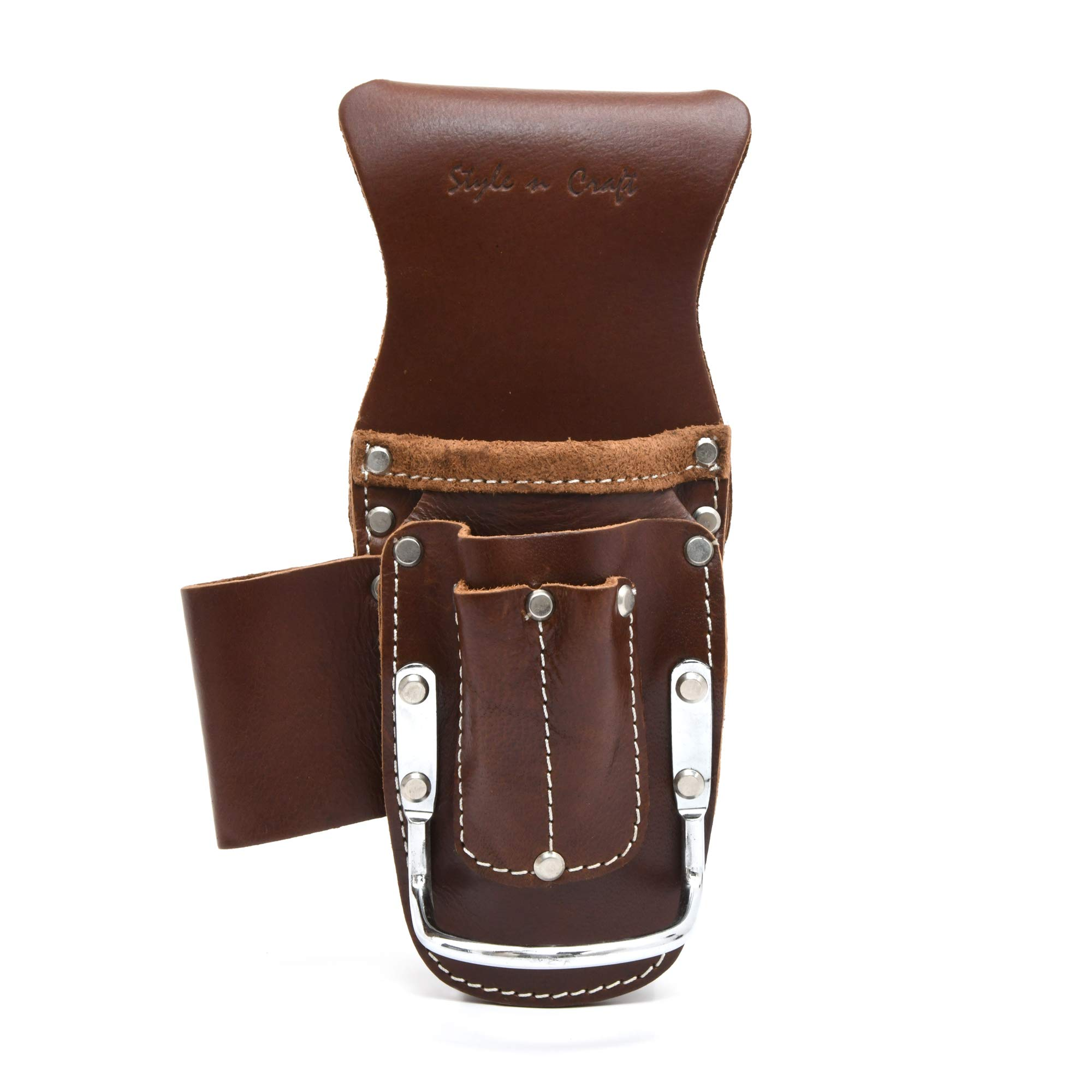 Style n Craft - 2 Pocket Pliers & Hammer Holder in Dark Tan Heavy Top Grain Leather #98016