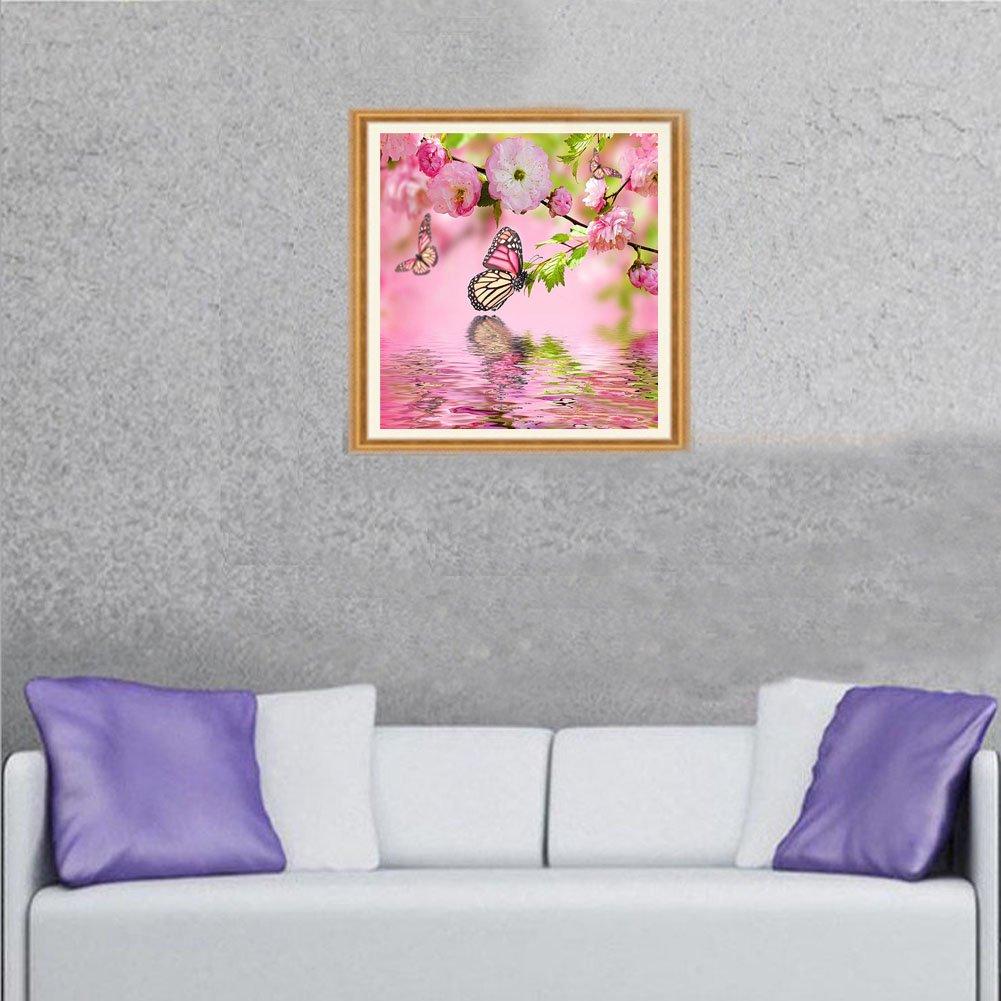5D DIY Diamond Painting kit ricamo artigianale soggiorno camera da letto da parete a punto croce casa decorazioni regalo Farfalle e fiori