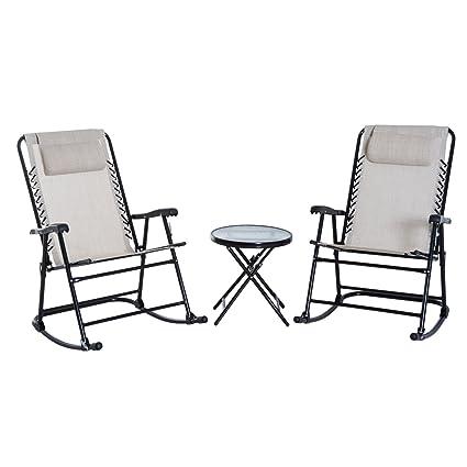 Excellent Amazon Com Jur Global 3 Piece Outdoor Folding Rocking Machost Co Dining Chair Design Ideas Machostcouk