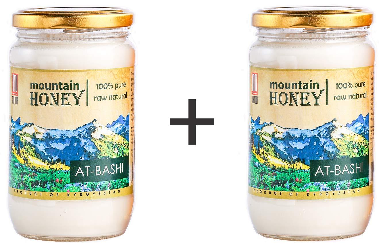 At-Bashi 2-Jar Value Pack; Kyrgyz White Honey; Raw Natural Wildflower Mountain Honey; 15.87 Ounce Glass Jar
