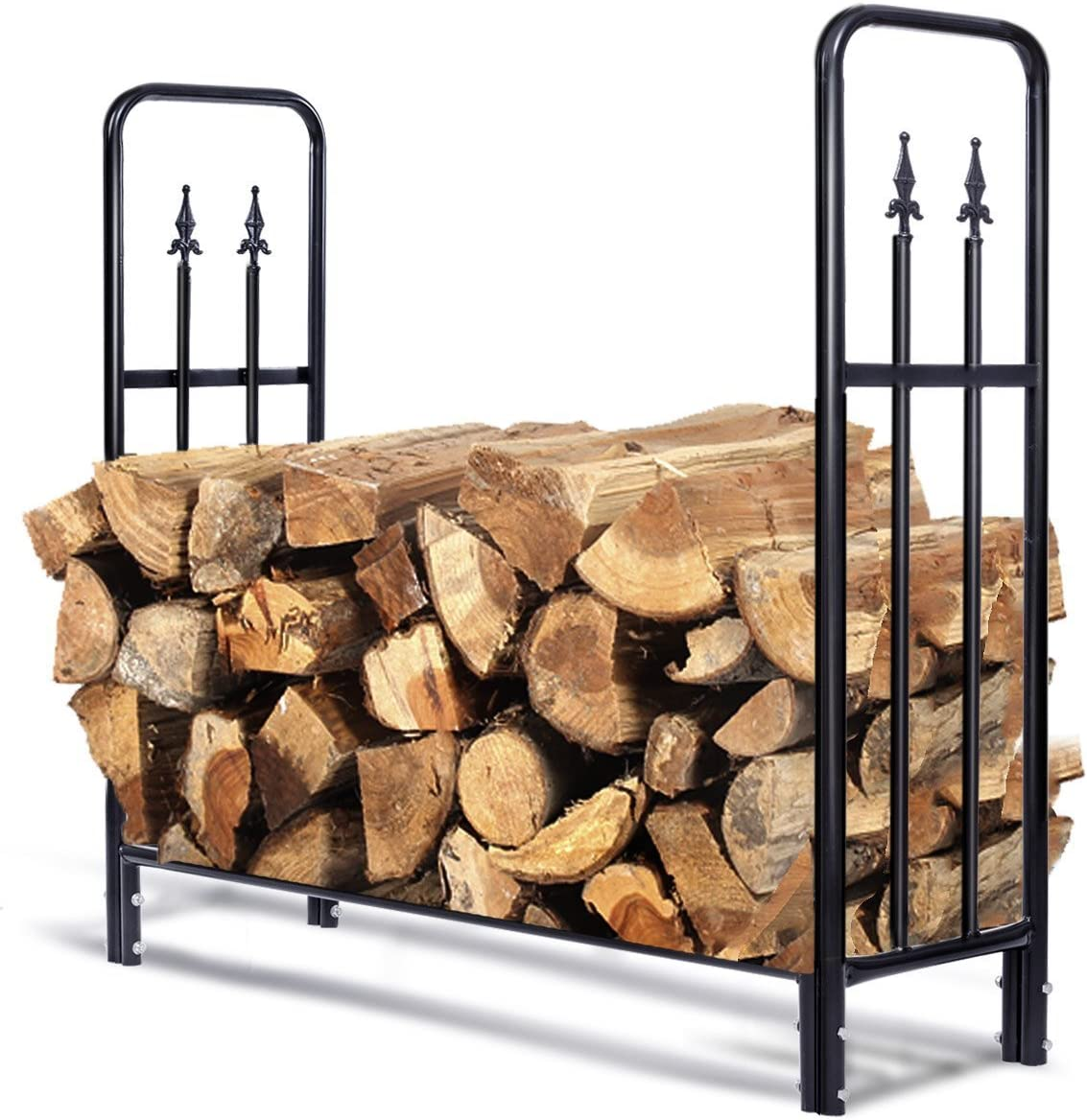 Goplus Firewood Log Rack Indoor Outdoor Fireplace Storage Holder Logs Heavy Duty Steel Wood Stacking Holder Kindling Wood Stove Accessories Tools Accessories 4 Feet