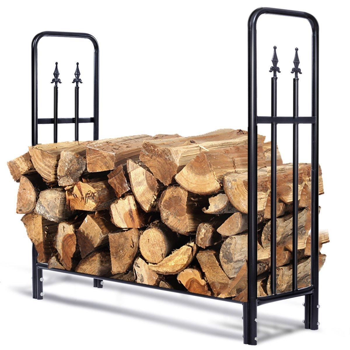 Goplus Firewood Log Rack Indoor/Outdoor Storage Holder Steel (4 Feet)