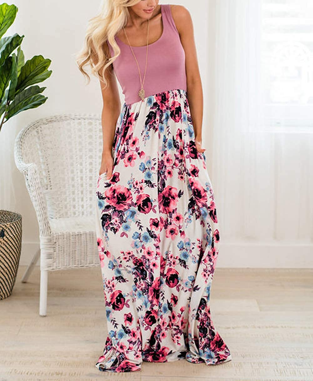 Astellarie Mother and Daughter Matching Clothes,Floral Printed Family Beach Maxi Dress with Pockets for Easter Mothers Day