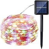 Icicle Solar Fairy Lights, 33ft 100LED Light Sensor Control Flexible Copper Wire Waterproof Decorative Light for Garden, Lawn, Pergola, Backyard, Gazebo, Porch, Holiday Decorations (Multicolored)