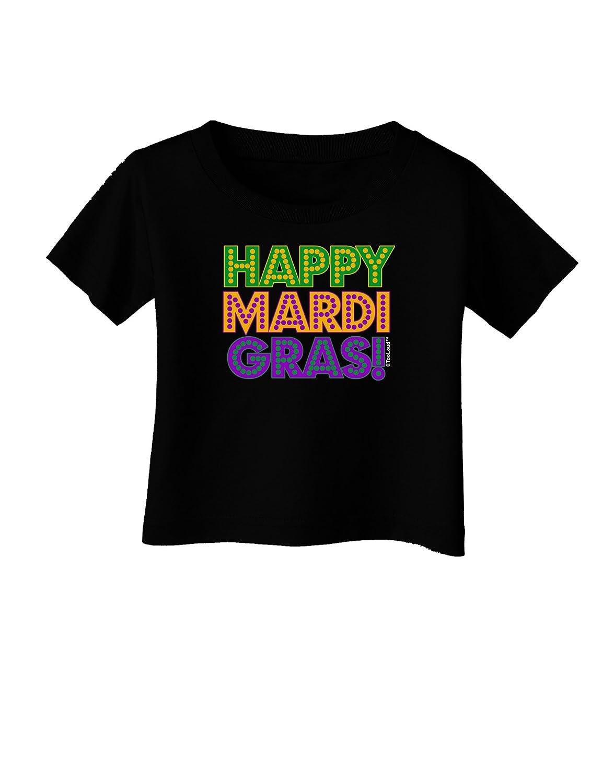 TooLoud Happy Mardi Gras Text Infant T-Shirt Dark