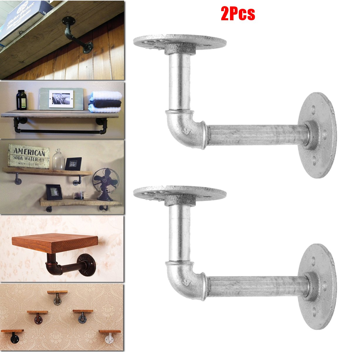 KING DO WAY 2PCS Pipe Shelf Bracket Industrial Shelf Bracket for Book Shop Shelf Shose Shop Shelf Custom shelves Floating Shelves Plumbing Pipe Shelf Restoration Hardware Shelf (12x17cm)