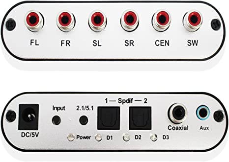 Amazon.com: Decodificador de Audio 5.1 CH SPDIF Coaxial a ...