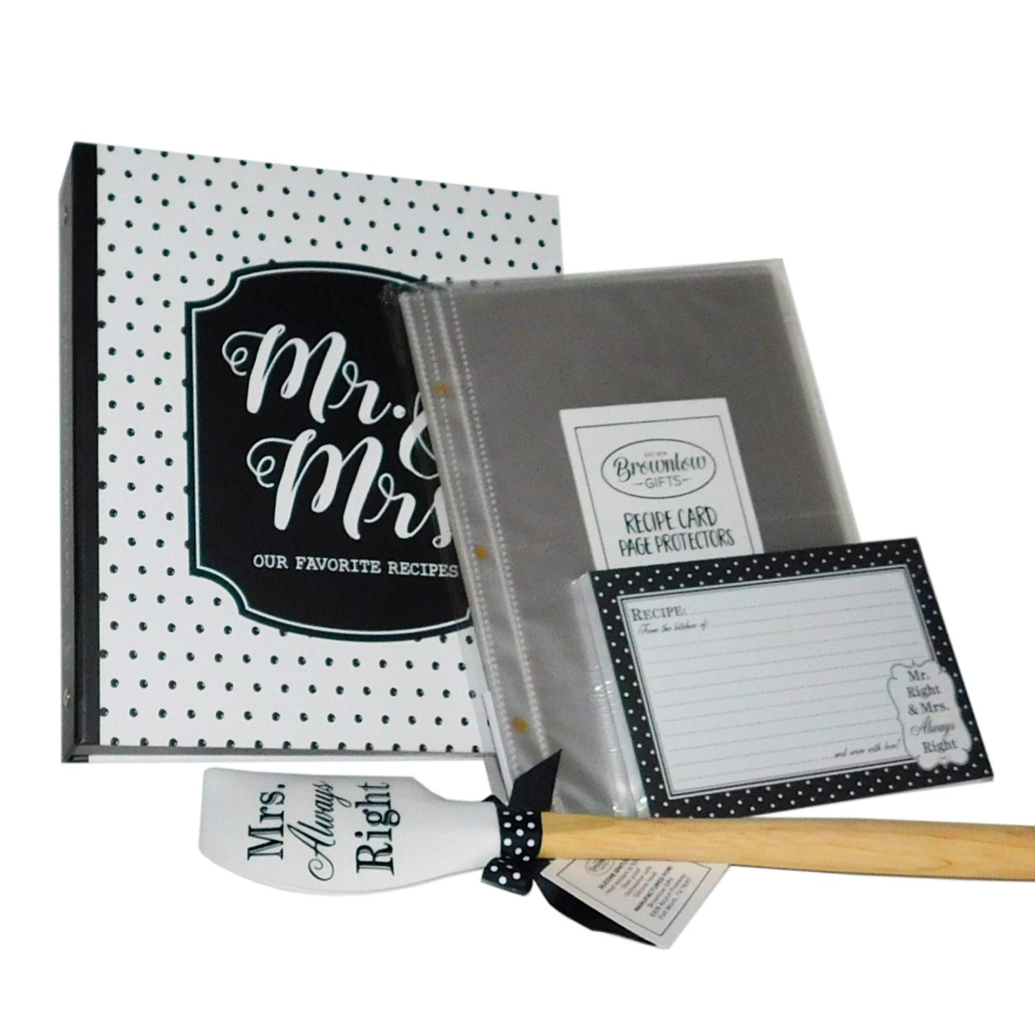 Mr Mrs Always Right Kitchen Gift Set Binder With 4 x 6 Recipe Cards Acetate Sheet Protectors Dividers Spatula in Black & White 4 Items Total for Bridal Shower Wedding Anniversary by Brownlow Gifts