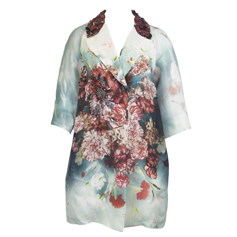 Marina Rinaldi Women's Tarina Floral Silk Coat, Multicolor, 12W   21