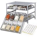 NEX Spice Rack Organizer for Cabinet, 3 Tier 24-Bottle Spice Drawer Storage for Kitchen Pantry Countertop, Metal, Silver