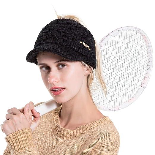 H.ZHOU Cola de caballo de la mujer sombrero sombrero de punto ...