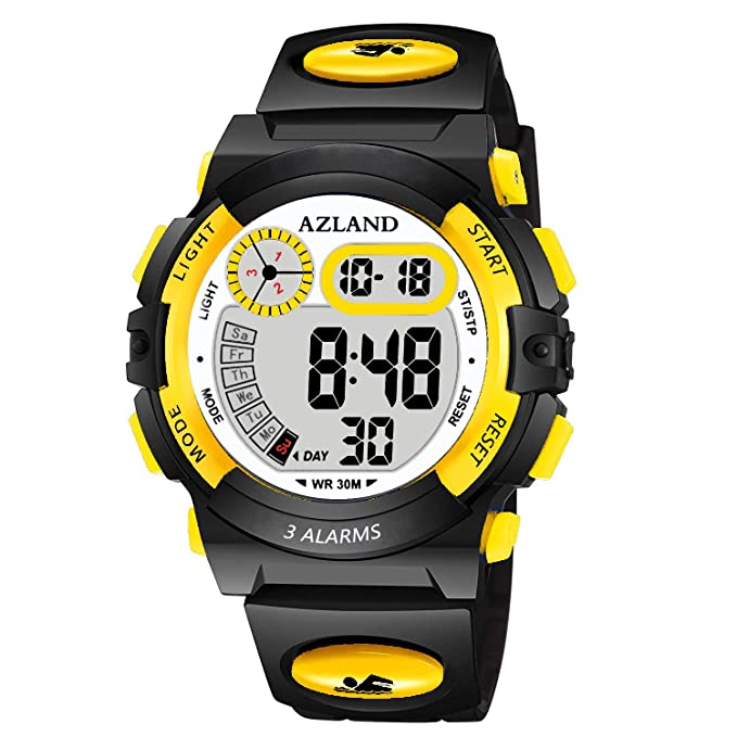 AZLAND Updated Version Added Three Alarms - Multifunctional Waterproof Boys Girls Watch Digital Sports Kids Watches,Yellow