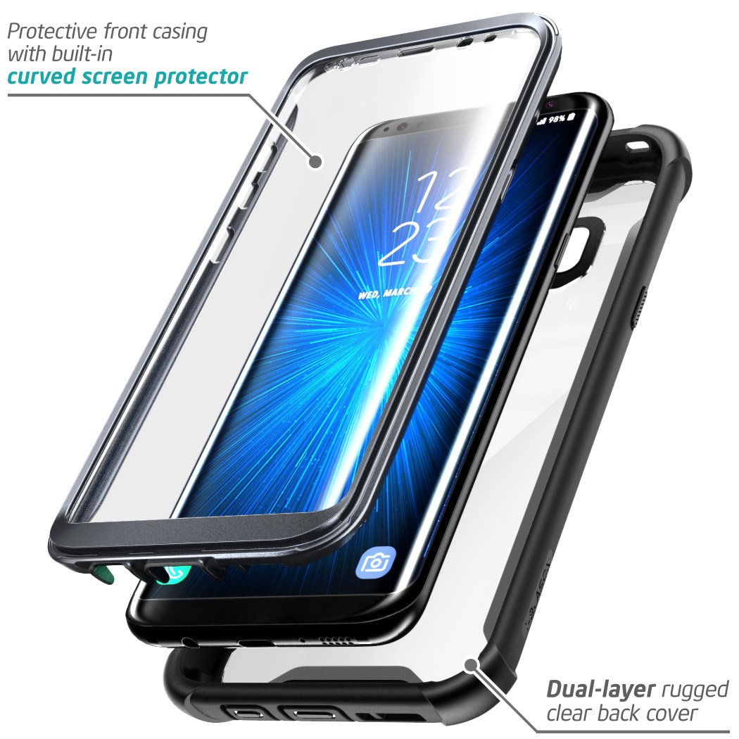 size 40 210fe f34f1 i-Blason Case for Galaxy S8+ Plus 2017 Release, Ares Full-Body Rugged Clear  Bumper Case with Built-in Screen Protector for Samsung Galaxy S8+ Plus ...