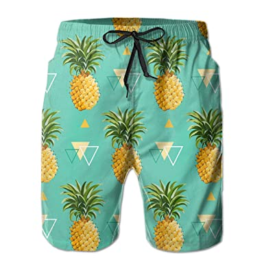 a7bcb1dc7e Amazon.com: NICOKEE Cool Swim Trunks for Men, Pineapples with ...