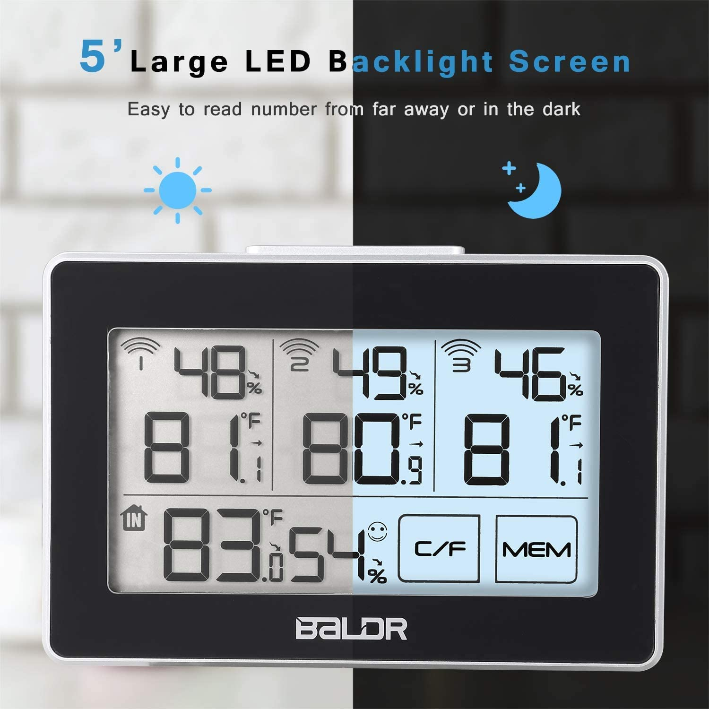 misuratore di temperatura e umidit/à per la stanza dei bambini la cucina Termometro e igrometro digitale per interni ed esterni con 3 sensori remoti la serra touch a LED senza fili
