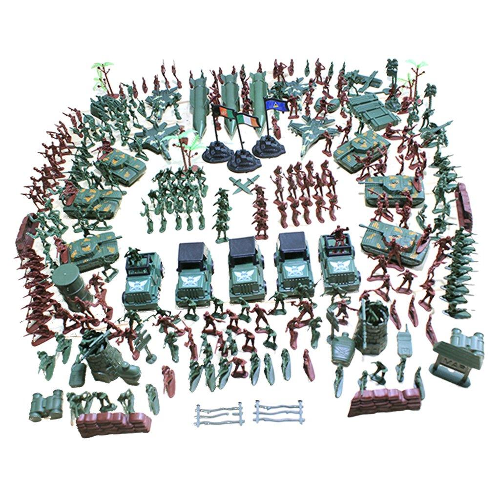 MagiDeal 307/519 pcs Figurines de l'Armée Soldat en Plastique 4cm avec Accessoires Ensemble de Jeu pour Modèle Scène Sable de l'Armée - 307 Pcs/Set
