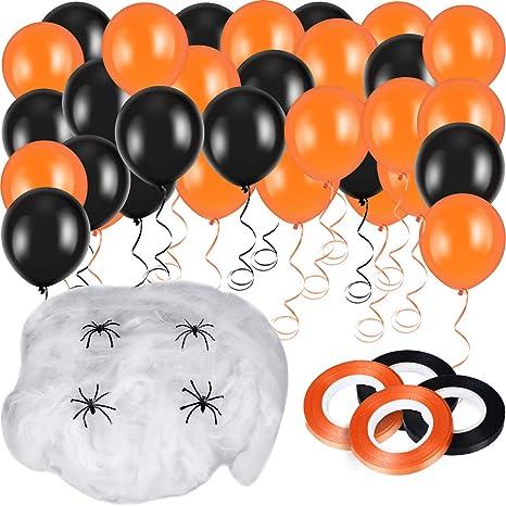 Blulu 50 Pezzi Halloween Palloncini in Lattice 100 g Bianca Ragnatele  Stretch con 20 Pezzi Ragni f1fe06079490