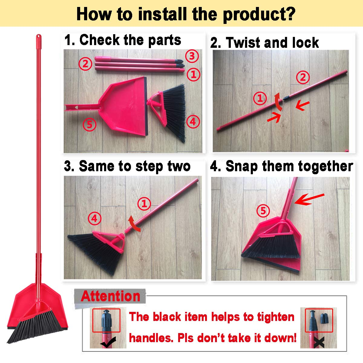 Angle Broom Dustpan Set Rubber Lip Detachable Hand Broom Indoor Outdoor Floor Sweeper Lobby Kitchen Patio Garden Garage Shop Hair Salon by Iamagie (Image #8)