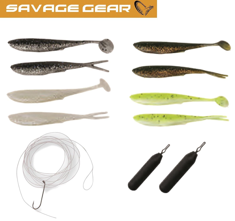 Drop Shot Angelset zum Spinnfischen auf Barsch /& Forelle Savage Gear Finezze Dropshot Kit Gummik/öder zum Dropshotangeln