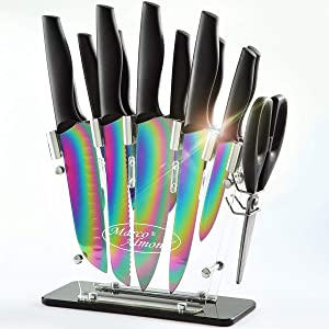 Marco Almond KYA35 Rainbow Titanium Knife Set with Block,14 pieces Kitchen Knife Set with Acrylic Stand,Kitchen Scissor,Santoku knife,6 Rainbow Steak Knives Cutlery Knives Set For Home Pro Use