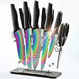 Marco Almond KYA35 Rainbow Titanium Knife Set with Block,14 pieces Kitchen Knife Set with Acrylic Stand,Kitchen Scissor…