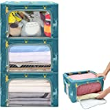 HOUSE AGAIN 3 Pcs Sturdy Storage Bags Stackable Storage Boxes/Containers, Durable Handles Solid Bottom with Metal Frame for C