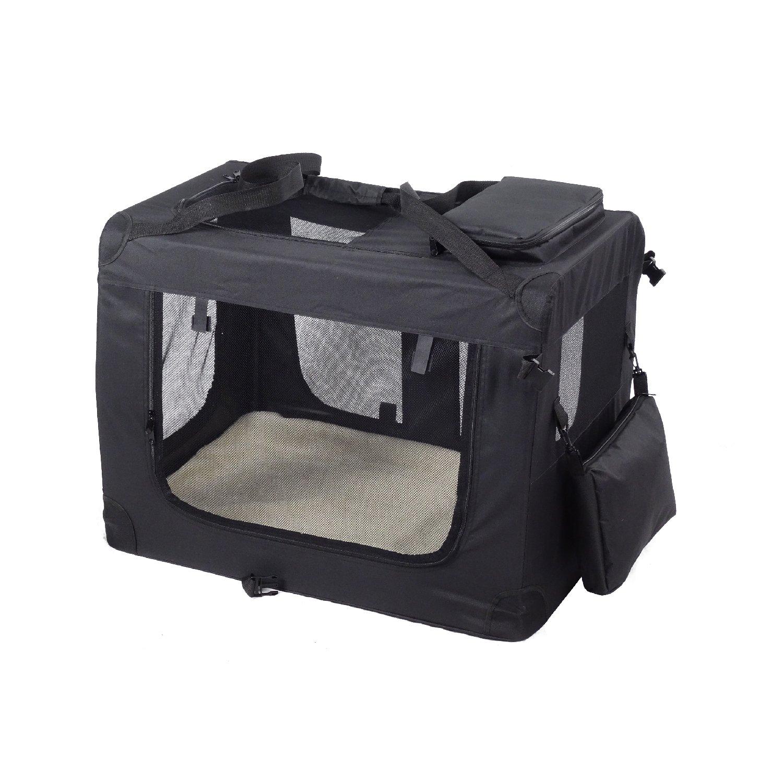 Wellhome Bolsa de Transporte Perro Transportí n para Perros Gatos Capazo Portador Tela Mascotas Portá til Plegable M: 60x42x42cm Negro