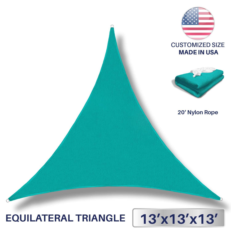Windscreen4less 13' x 13' x 13' Sun Shade Sail UV Block Fabric Canopy in Turquoise Triangle for Patio Garden Patio Customized (3 Year Warranty)