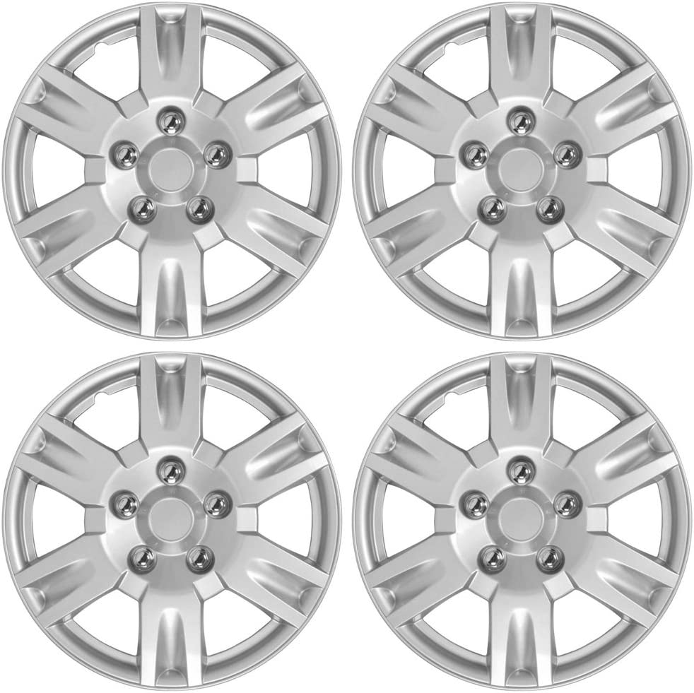 BDK KT-999-16_AMZKING Silver Hubcaps Wheel Covers for Nissan Altima (16 inch) – Four (4) Pieces Corrosion-Free & Sturdy – Full Heat & Impact Resistant Grade – Replacement, 4 Pack