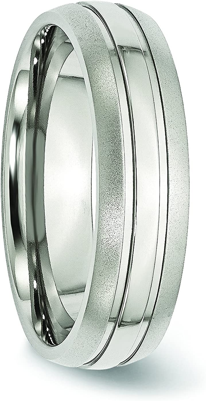 Diamond2Deal Stainless Steel Grooved 6mm Brushed and Polished Band Ring Fine Jewelry Ideal Gifts for Women