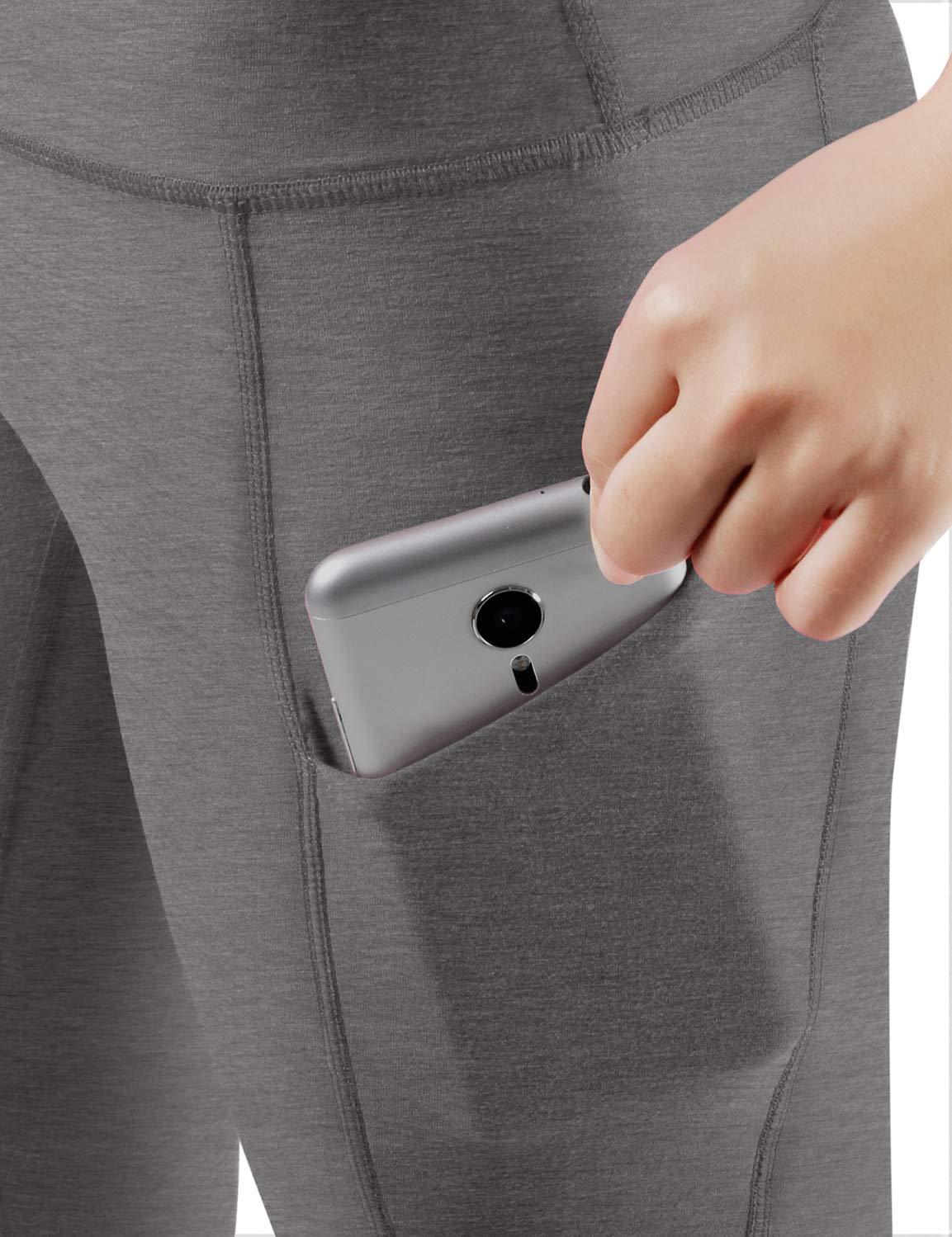 ODODOS High Waist Out Pocket Yoga Capris Pants Tummy Control Workout Running 4 Way Stretch Yoga Leggings,Gray,X-Small by ODODOS (Image #4)
