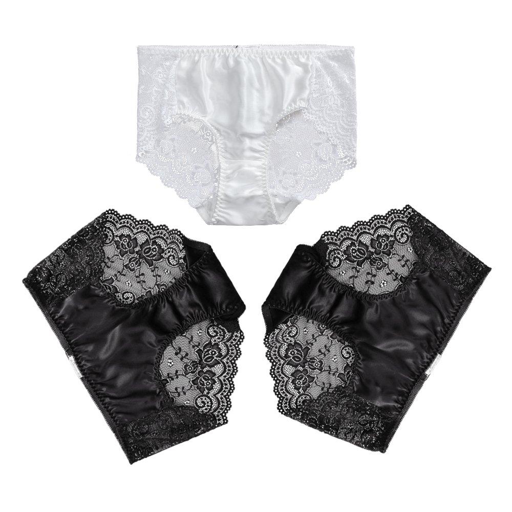 LilySilk Women's Silk Lace Panties 3-Pack Mid-Rise Waist 100% Mulberry Silk Breifs CA3-5164