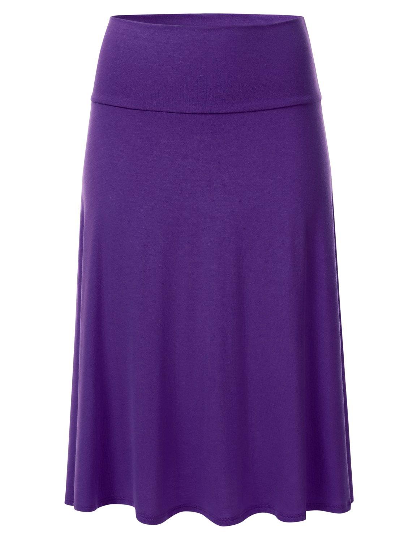 FLORIA Womens Solid Lightweight Knit Elastic Waist Flared Midi Skirt Purple S