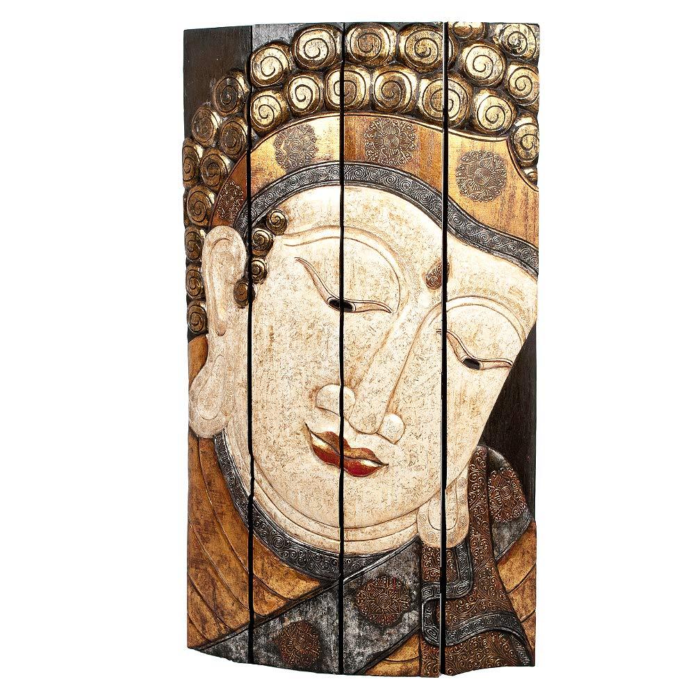 LEBENSwohnART Paravent Buddha ca.118x200cm (BxH) Albasia Massivholz Raumtrenner Spanische Wand