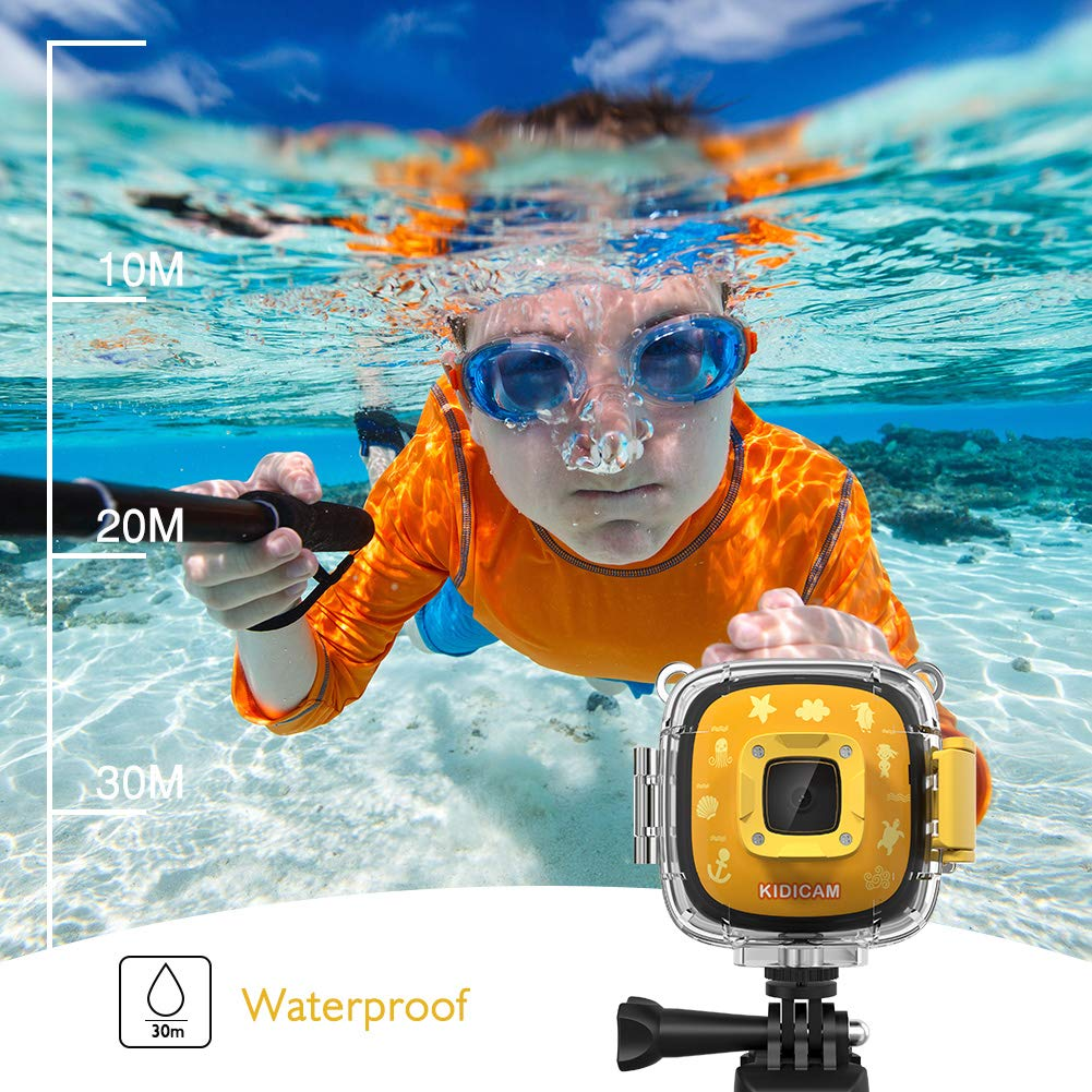 Dragon Touch Kids Camera Kidicam 1080P Action Camera 30m Waterproof Camera Yellow by Dragon Touch (Image #4)