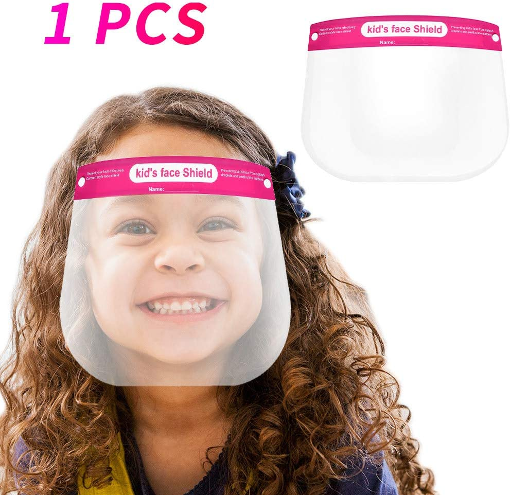 Lightweight Transparent Safety Face Protective Full Face Covering with Elastic Band for Children 5Pcs Kids Face S̲h̲i̲e̲l̲d̲
