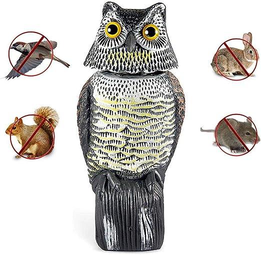 GYFHMY Sacudiendo el búho Repelente de Aves Caza Cebo Decoración Premium Falsa señuelo para la Defensa Espantapájaros Adornos de jardín Estatua con Cuernos Protectores de plagas: Amazon.es: Hogar