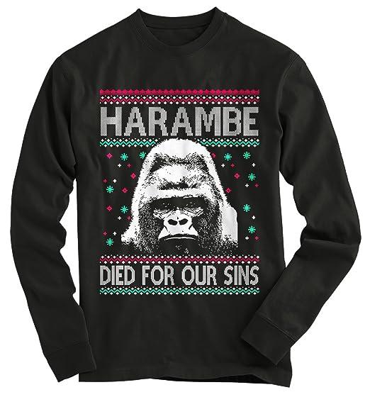 Gnarly Tees Men's Harambe Ugly Christmas Sweater at Amazon Men's ...
