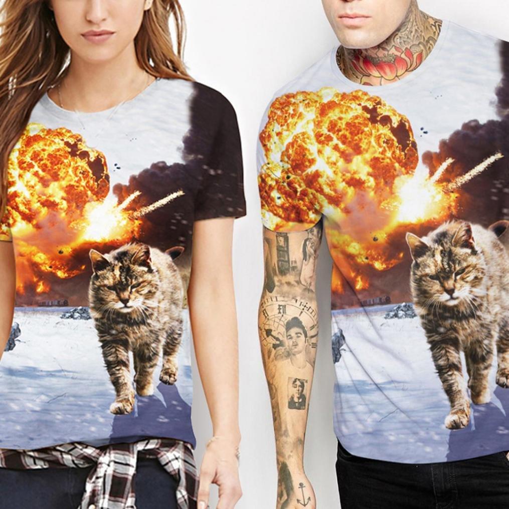 TIFIY Frauen Gro/ße Gr/ö/ße 3D Katze Liebhaber Druck Tees Hemd Kurzarm Sommer T-Shirt Bluse Tops