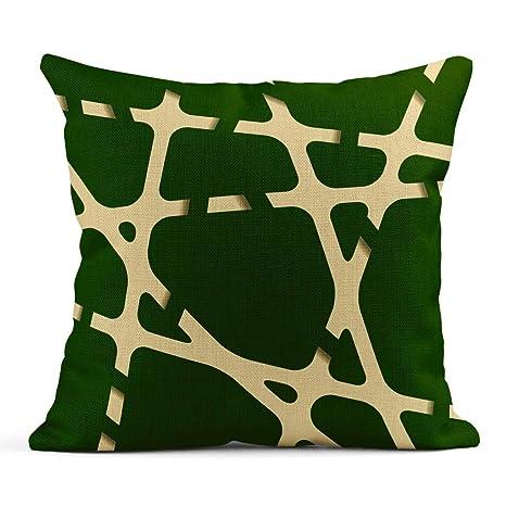 Kinhevao Cojín Verde Brillante Líneas abstractas Cintas ...