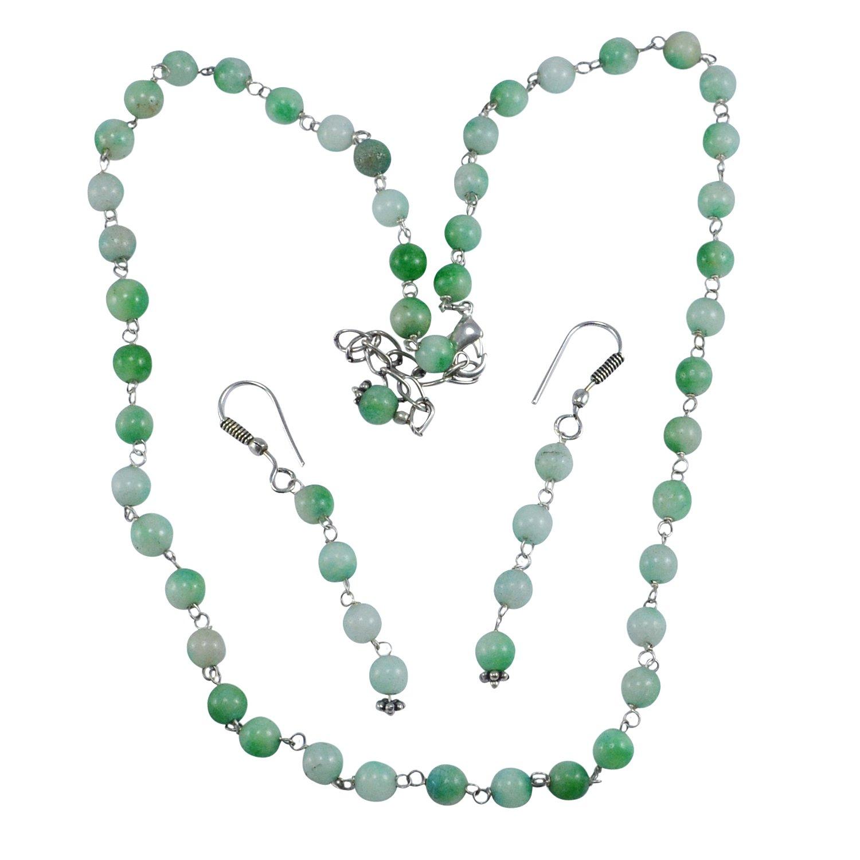 saamarth Impexグリーン翡翠宝石用原石ネックレス&イヤリングセットpg-132120 B0772WRX78