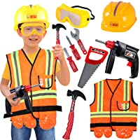 Construction Worker Costume Kids Role Play Dress up Set for 3 4 5 6 Years Toddlers Girls Boys Toys Orange